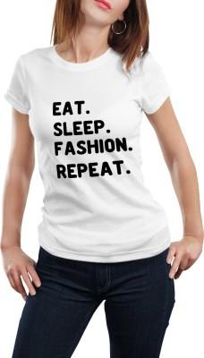 Girlful Printed Women's Round Neck White T-Shirt