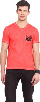 Smokestack Printed Men's V-neck Red T-Shirt
