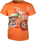 Vagmee Printed Men's Round Neck Orange T...