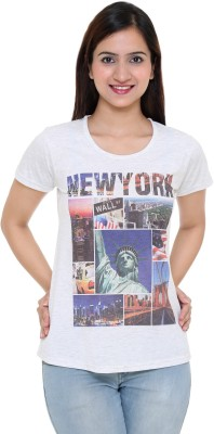 IN Love Party, Formal, Casual Cap sleeve Printed Women's Grey Top