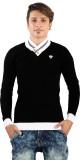 Igsmart Solid Men's V-neck Black T-Shirt