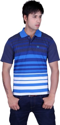 Update Striped Men's Flap Collar Neck Blue, Multicolor T-Shirt