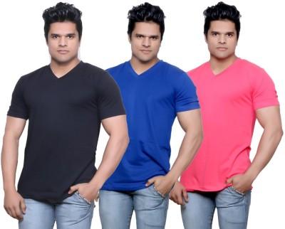 Indiweaves Solid Men's V-neck T-Shirt
