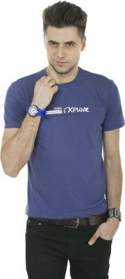 Okane Printed Men's Round Neck Purple T-Shirt