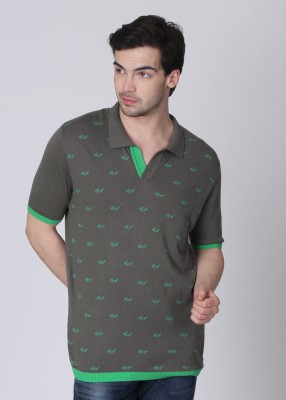 People Printed Men's Polo Grey T-Shirt