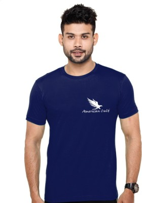 American Cult Solid Men's Round Neck Blue T-Shirt