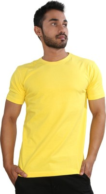 Just Differ Solid Men's Round Neck Yellow T-Shirt