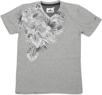 WROGN Printed Boy's V-neck Grey T-Shirt