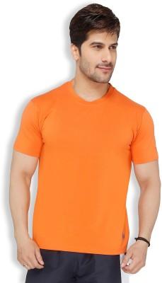 Live In Solid Men's Round Neck Orange T-Shirt