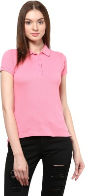 Trend18 Solid Women's Polo Neck T-Shirt