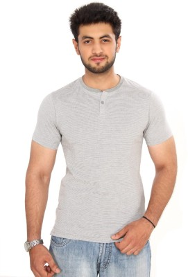 Bongio Striped Men's Henley Grey T-Shirt