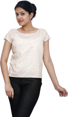 Fine Colors Embellished Women's Round Neck Gold T-Shirt