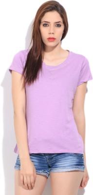 Cherokee Solid Women's Round Neck Purple T-Shirt