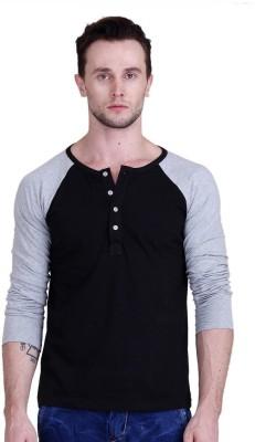FABSTONE Solid Men's Henley Black T-Shirt