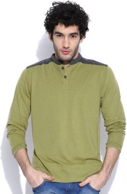 Cult Fiction Solid Men's Henley Green T-Shirt