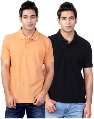 Top Notch Solid Men's Polo Neck Orange, Black T-Shirt
