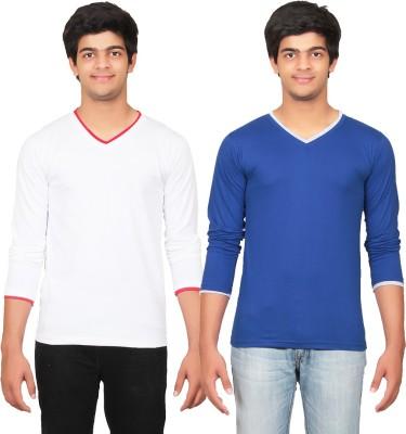 Graceful Self Design Men's V-neck White, Blue T-Shirt