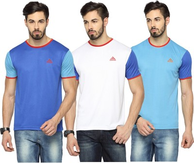 Canyons Solid Men's Round Neck Blue, White, Light Blue T-Shirt
