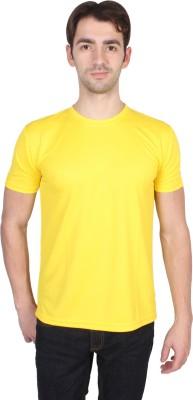 Randier Solid Men's Round Neck Yellow T-Shirt