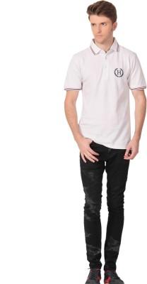 Howzat Printed Men's Polo White T-Shirt