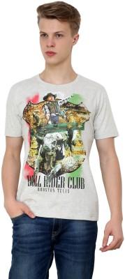 Era of Attitude Printed Men's Round Neck Grey T-Shirt