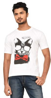 Black Sparrow Printed Men's Round Neck White T-Shirt