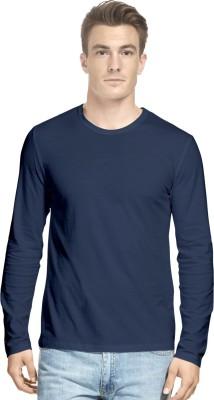Hueman Solid Men's Round Neck Dark Blue T-Shirt