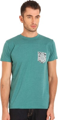 Sting Solid Men's Round Neck Light Green T-Shirt