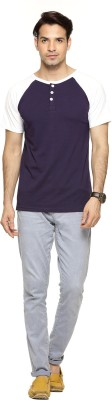 Being Crazy Solid Men,s Henley Purple T-Shirt