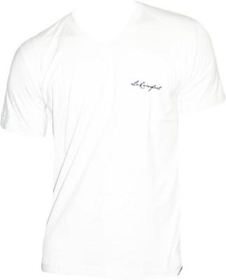 LaKomfort Solid Men's V-neck White T-Shirt