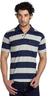 YOO Striped Men's Polo Neck Dark Blue T-Shirt