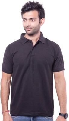 Zuvic Solid Men's Polo Neck Black T-Shirt