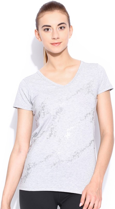 Puma Solid Women's V-neck Grey T-Shirt