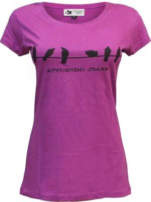 Attuendo Printed Women's Scoop Neck Maroon T-Shirt