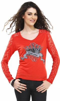 Miss Pink Solid Women's V-neck Red T-Shirt