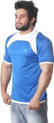 Stylar Solid Men's Round Neck Blue, White T-Shirt