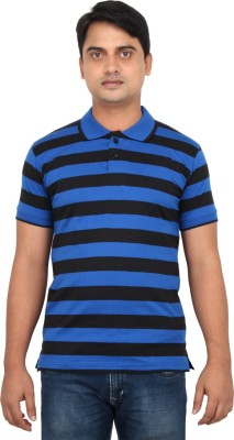 LOOX by Apoorti Striped Men's Polo Neck Blue, Black T-Shirt