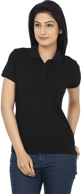 Wills Lifestyle Solid Women's Polo Black T-Shirt