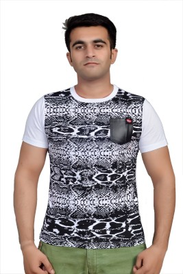Parv Collections Printed Men's Round Neck White T-Shirt