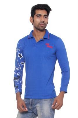 Pezzava Self Design Men's Hooded Reversible Blue, Red T-Shirt