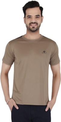 Awack Solid Men's Round Neck Brown T-Shirt