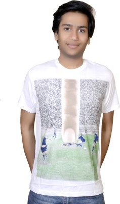 Inez Printed Men's Round Neck White T-Shirt