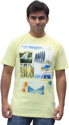 Romano Printed Men's Round Neck Yellow T-Shirt
