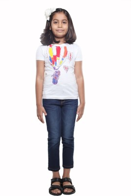 STOP by Shoppers Stop Printed Girl's Round Neck White T-Shirt