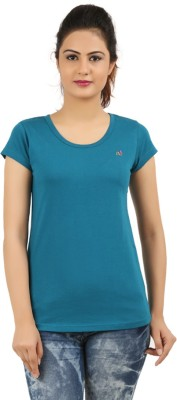New Darling Solid Women's Round Neck Blue T-Shirt