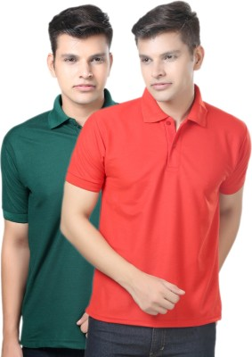 eSOUL Solid Men's Polo Neck Dark Green, Red T-Shirt