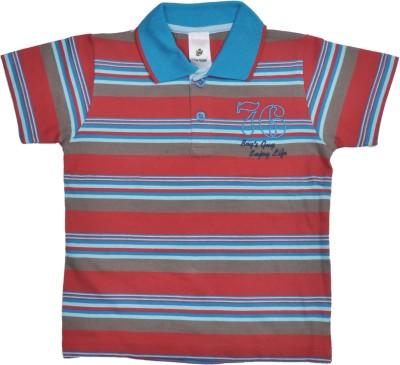 Bio Kid Striped Boy's Polo Neck Multicolor T-Shirt