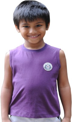 Snowflakes Solid Boy's Round Neck Purple T-Shirt