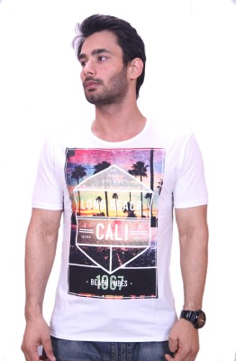 Qubic Printed Men's Round Neck White T-Shirt