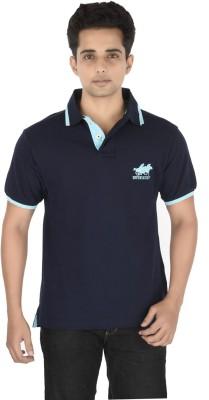 Buzkachi Solid Men's Polo Blue T-Shirt
